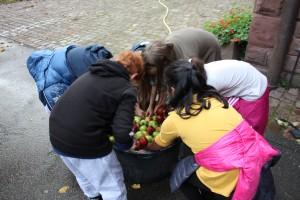 1) Zuerst werden die Äpfel gewaschen...