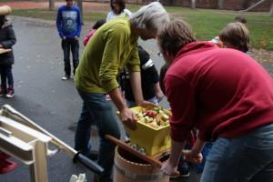 3) Nun werden die grob geschnittenen Äpfel...